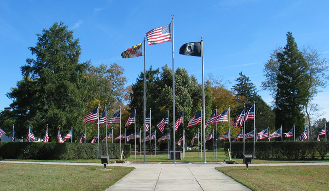 Flag display in front of Charlotte Hall Veterans Home