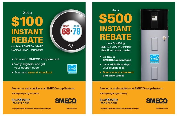 Sample of Instant Rebate signs at participating retailers